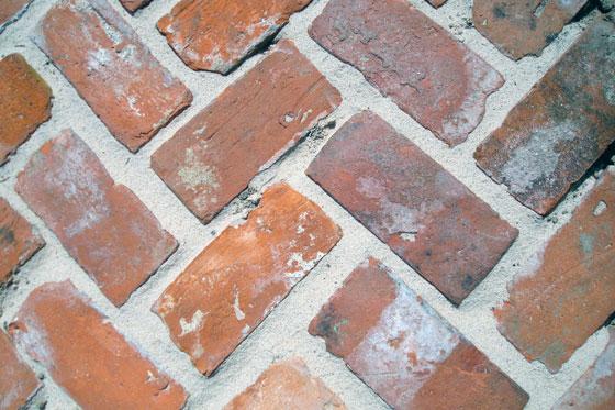 Bricks laid in a herring bone pattern