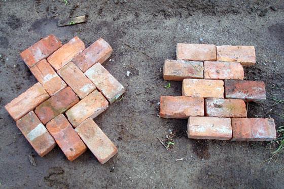 Herring bone brick walkway