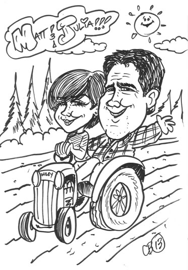 Carticature of man and woman driving a tractor