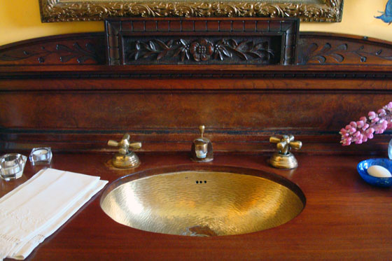 Hammered metal sink