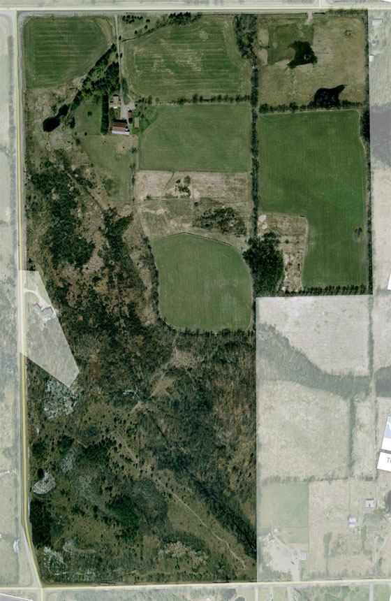 Birds eye view of the farm