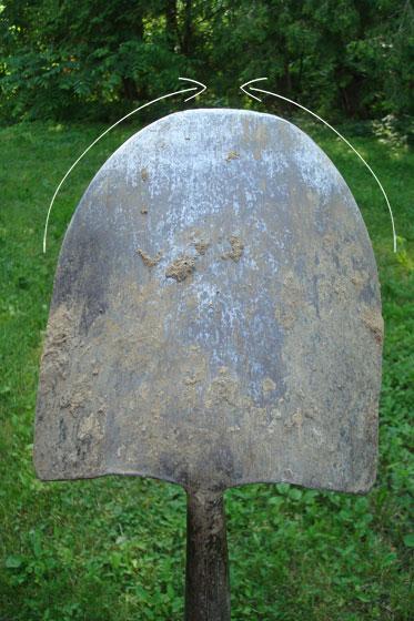 Direction to sharpen a shovel
