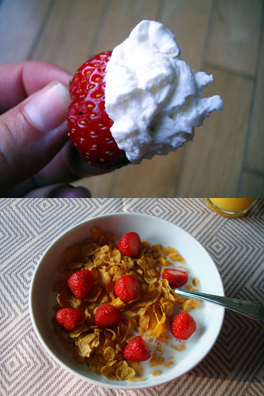 Strawberries with whipped cream and on cereal