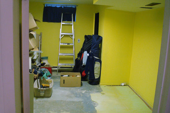Ugly basement painted yellow
