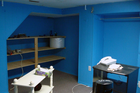 Basement room painted blue
