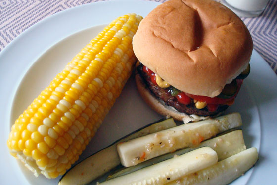 Burger and corner on the cob
