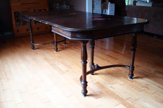 Antique dark wood dining table