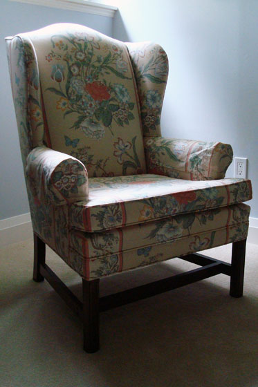 Flowered Wing Chair