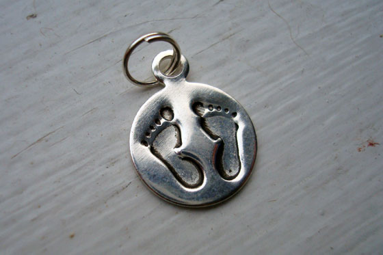 Baby footprints silver charm