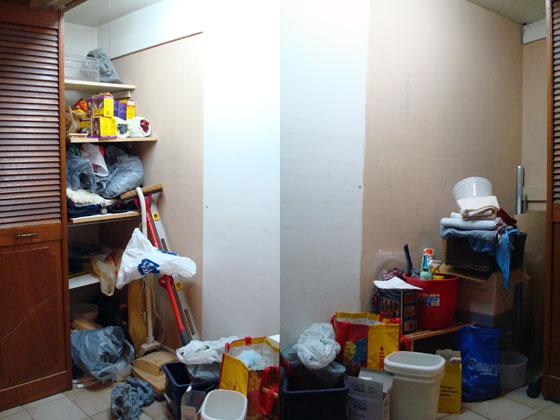 Messy front hall closet