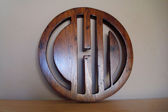 Wooden initials medallion