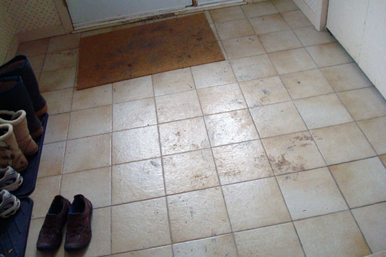 Mud smeared on a tile floor