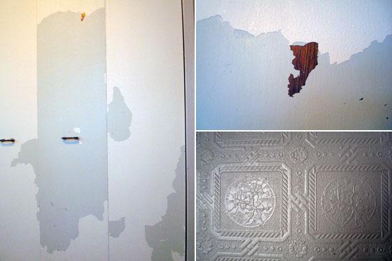 Chipped paint on bifold closet doors