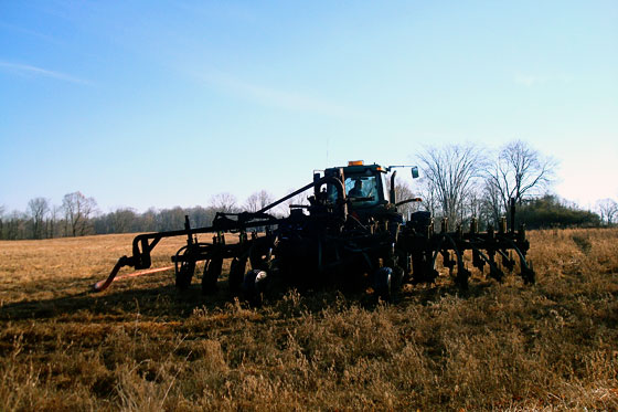 Tractor spraying manure