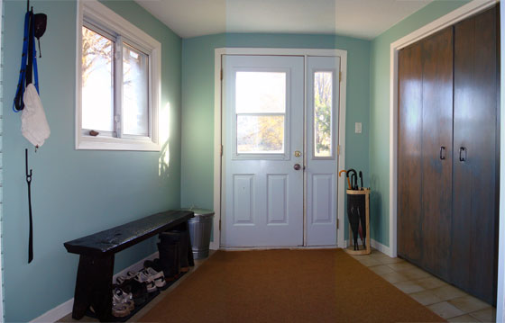 Simple bright country mudroom