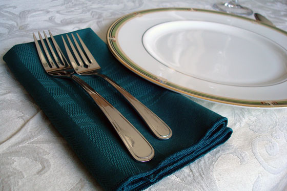 Dark green table napkin