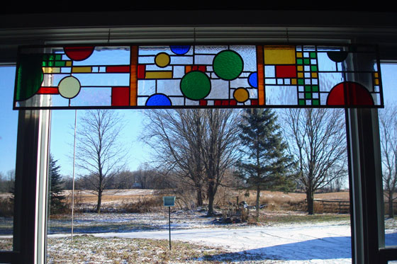 Coonley playhouse Frank Lloyd Wright inspired stained glass panel