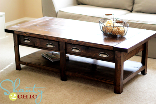 Pottery Barn Benchwright inspired coffee table from Ana White