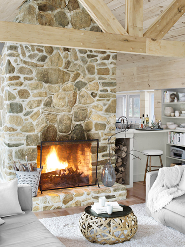 Stone fireplace from Country Living