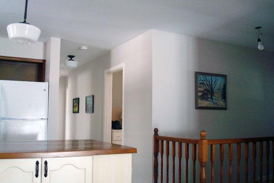 Hallway painted Benjamin Moore Abalone