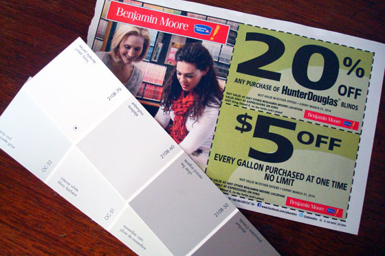 Benjamin Moore paint chips and coupon
