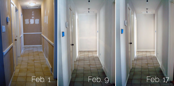 Progression of painting our hallway