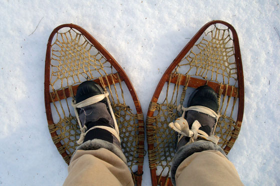 Hiking in vintage snowshoes