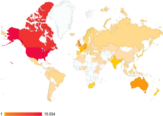Blog views by country
