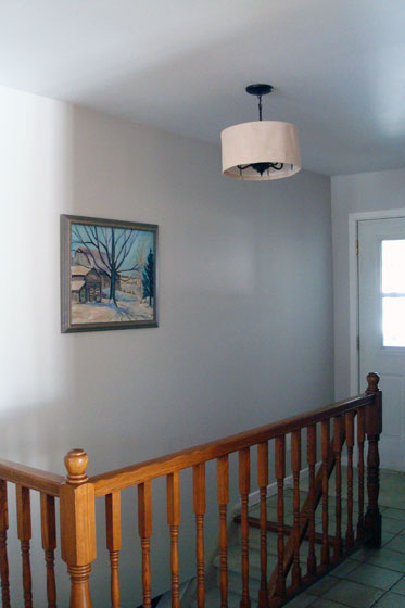 Foyer light fixture DIY drumshade over a chandelier