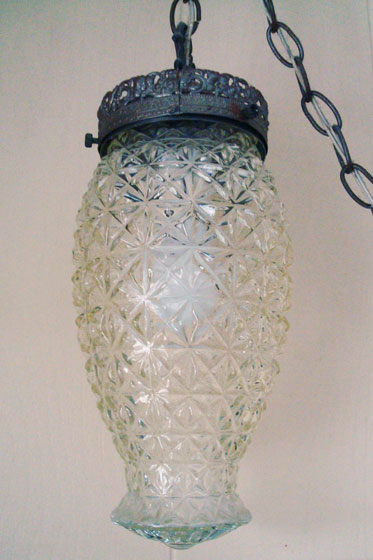 Cut glass hanging light fixture