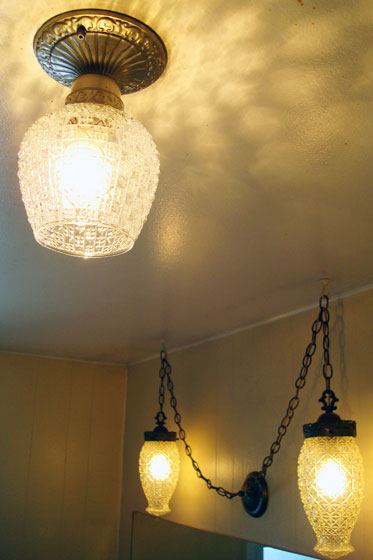 Vintage cut glass light fixtures