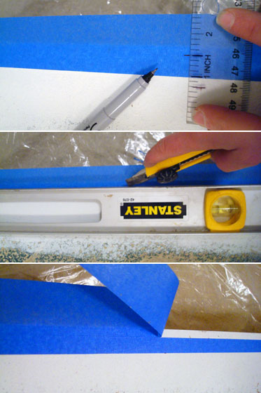 Cutting painters tape to narrower width