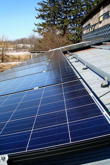 Solar panels on the barn roof