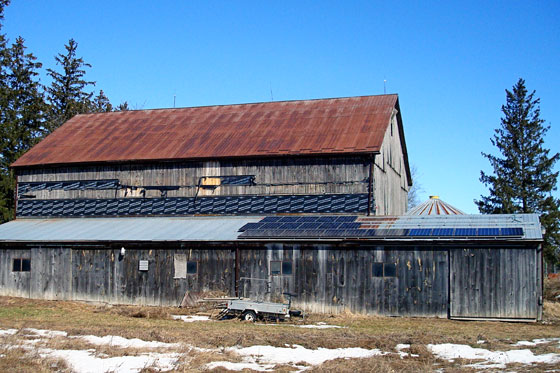 Solar panel install on the barn roof