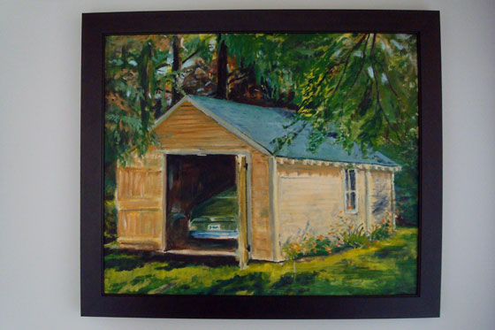 Painting of a sun-dappled garage