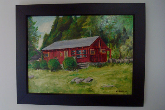 Painting of a red cottage