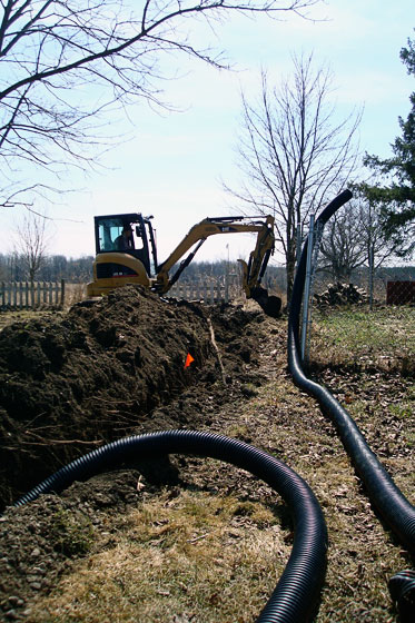 Trenching for solar panels