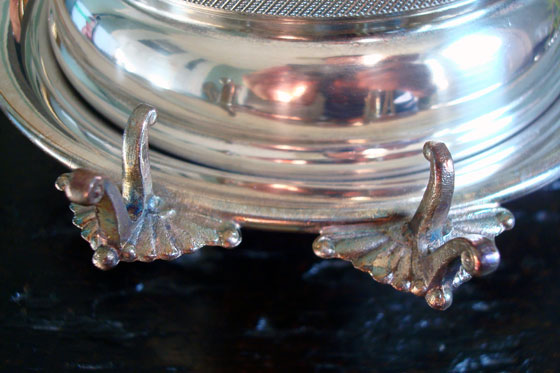 Butterfly topped silver butter dish