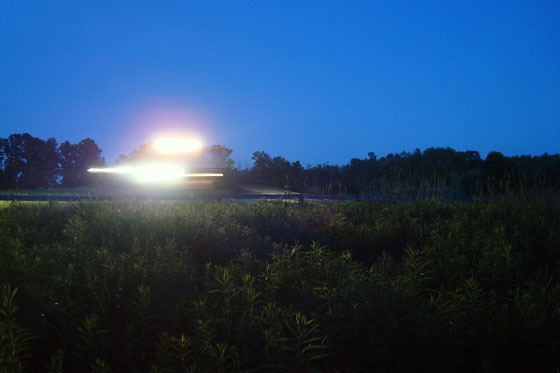 Spraying the fields at night