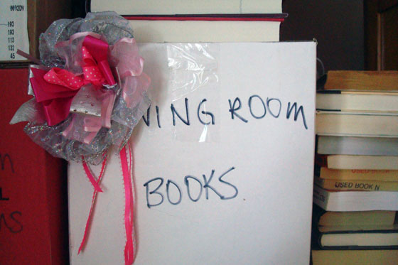 Bow on box of books