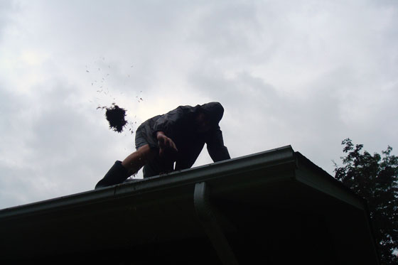 Cleaning out the eaves trough