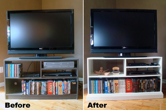 TV stand before and after