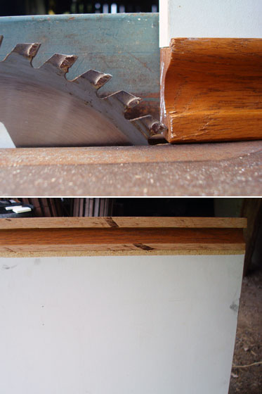 Trimming the edge off a cabinet door