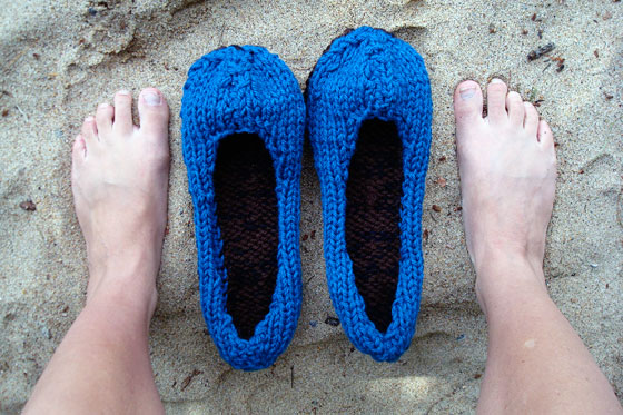 Hand knitted slippers before felting
