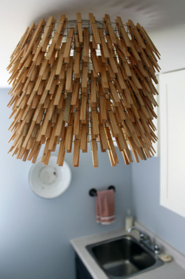 Clothespin light in the laundry room