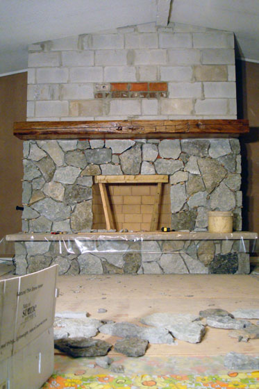 Fireplace two weeks in to construction