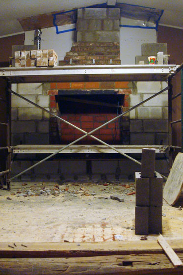 Masonry fireplace in progress