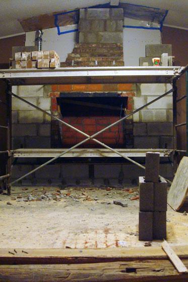 Masonry fireplace in progress