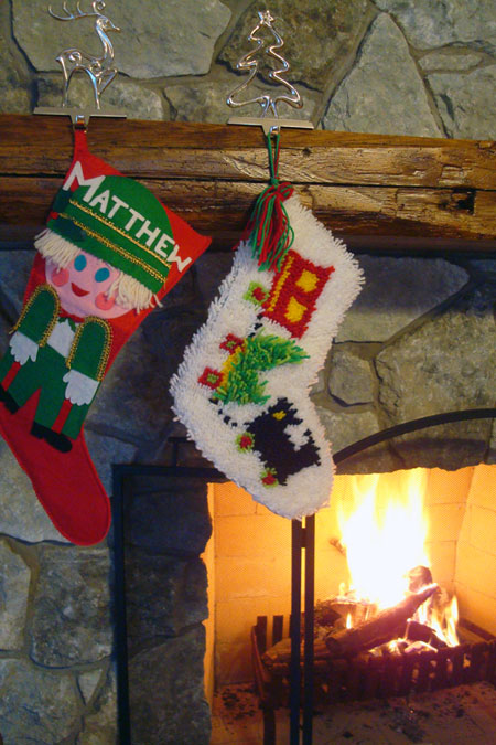 Christmas stockings hung by the fireplace