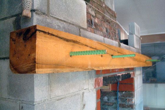 Installing a barn beam mantel